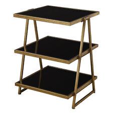 Noa Mid Century Gold Small Three Shelf Table Etagere Bronze Black Modern Accent