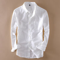 New Mens Sunscreen Travel shirts Linen Cotton Long Sleeve Slim Fit Shirts Thin