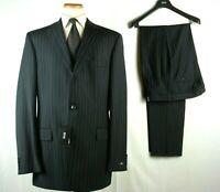 NWT HUGO BOSS ROSSELLINI/CINEMAU Suit Navy Striped 46L W40