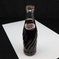 Vintage 1957 Pepsi Cola Swirl Glass Full Unopened Bottle 6 1/2 oz