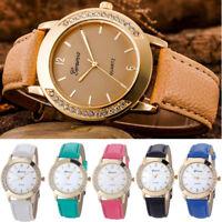 Fashion Women Geneva Crystal Stainless Steel Leather Quartz Analog Wrist Watche