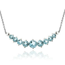 Sterling Silver Blue Topaz Graduated Necklace