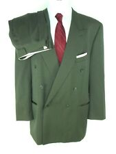 Vintage Joseph & Feiss Men's Suit US 50L* Wool Olive Green Double Breasted Pleat