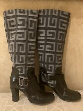 Givenchy Monogram Tall Black Patent Leather and Gray Denim Boots Sz 37