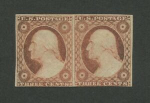 1853 United States Postage Stamp #11A Mint Hinged Original Gum Pair Certified