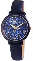 Excellanc Damenuhr Blau Blumen Analog Kunst-Leder Armbanduhr X195093000235