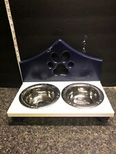Blue & White Wooden Double Bowl Holder Includes Stainless Steel 1 Pint Bowls .