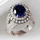 Gorgeous Blue Sapphire Jewelry 925 Silver Rings Women Engagement Rings Size 6-10