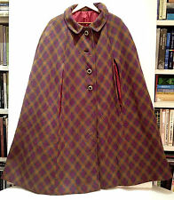 YVES SAINT LAURENT Plaid Wool Cape Extremely RARE STUNNING Vintage 60'S JACKET