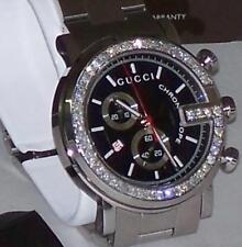 New Gucci G-chronograph Ya101309 Black Dial Custom Set 2.00 Ct.apx.Diamond Watch