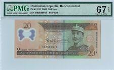 Dominican Republic 20 Pesos 2009 PMG 67 EPQ s/n BR 9589919 Polymer
