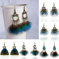 Fashion Tassel Drop Dangle Earrings Owl Peacock Feather Women Jewelry Gift Party