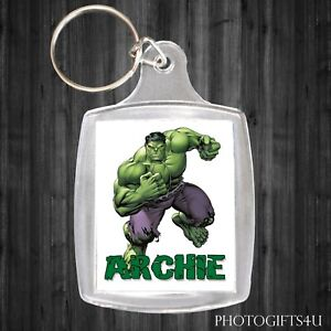 Personalised MARVEL HULK Keyring / Bag Tag With Your Name - LARGE 35x45mm