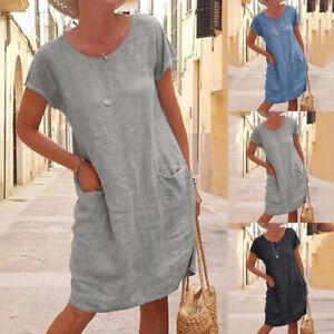 T-Shirt Flax Linen Summer Loose Mini Dress Womens Ladies Tops Dress Shirt Blouse