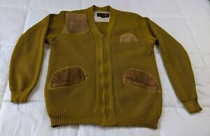 Vintage Knit V-Neck Button-Down Sweater Lloyd/'s w Genuine Suede Leather Front 38M
