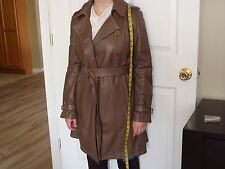 "EMPORIO ARMANI WOMEN""S BROWN SOLID LEATHER TRENCH COAT SIZE 38 NWT"
