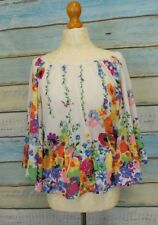 H&M wide sleeve floral peasant top recycled Garden Collection UK10 boho festival