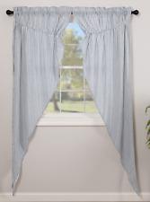 SAWYER MILL BLUE Ticking Stripe Long Prairie Curtain Set Farmhouse Lined VHC