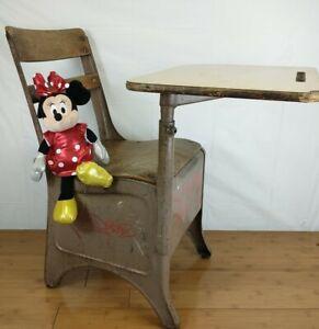 Vintage  Student Wooden & Steel  School Desk