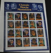 USPS CLASSIC MOVIE MONSTERS  STAMP SHEET  NM