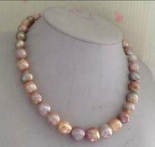"AAA 18"" 12-15mm Real south sea pink purple multicolor baroque pearl necklace 14k"