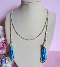 Kendra Scott Monique 14k Gold Turquoise Bead Lariat Tassel Necklace NWT