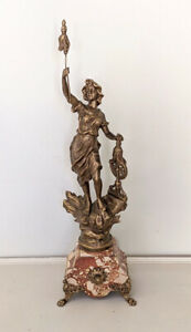 Old French Nouveau Spelter Statue / Clock Garniture