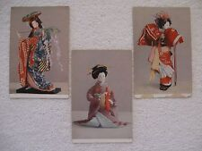 3 Vintage Postcards Japan Travel Bureau Wistaria Maiden, Cha-no-yu & Kamuro