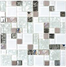 Glasmosaik Edelstahl Mosaikfliese Küchenwand Weiß Silber WB88-01699|1Mosaikblatt
