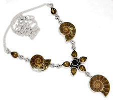 "19g ""Fossil"" Ammonite, Black Onyx & Smoky Topaz 925 Silver Necklace SN18550"