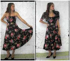 80's Prom Dress Size 8 Vintage Strapless Black Floral Cotton Bolero Jacket