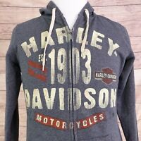 TED'S HARLEY DAVIDSON MOTORCYCLES ALTON IL GRAY FULL ZIP UP HOODIE MENS SIZE XL