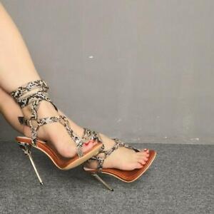 Gladiator Womens Clip Toe Thong T-strap Slingback Snakeskin High Heel Sandals UK
