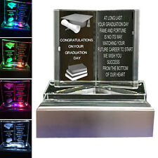 Graduation Gift Keepsake Crystal LED Light Glass Book Poem Graduation Present