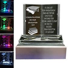 Graduation Gift Keepsake Crystal LED Light Glass Book Poem Graduation Present