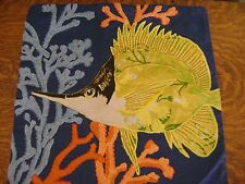 Pottery Barn Angel Fish Embroidered Pillow Cover ~ SOLD OUT@PB