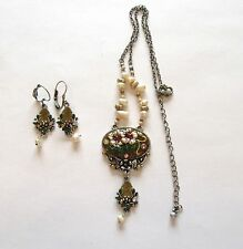 Necklace & Earring set- silver tone- flowers brown purple green pearl beads