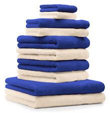 Betz Juego de 10 toallas PREMIUM 100% algodón azul y beige