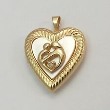 10K Gold MOP Diamond Child & Mother Heart Locket Charm Pendant 4.5gr