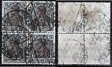 DR 104 a, O, 75 Pf. Germania schwarzblaugrün Viererblock, gepr. Infla