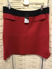 Next Size 18 Red & Navy Tailored Skirt Knitted Feel BNWT