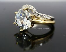 Engagement Wedding Ring Set Engagement Genuine Solid Real 14k Two-Toned Gold