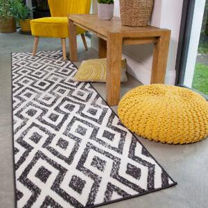 Modern Black Geometric Rug Small Large Living Room Moroccan Trellis Hall Runners