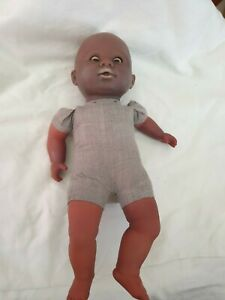 Vintage Berchet Brown Baby Doll Soft Vinyl open shut eyes