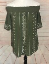Knox Rose XS Olive Green Embroidered Off The Shoulder Top