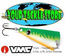 6 NEW VMC Tungsten Nymph Jig Rigged Green Orange Glow 1//16oz #8 TNYJ116GOGL