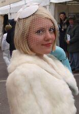 Chapeau Jules Vintage Veil Hat Satin Hat Ivory White Bow Hat Wedding Bride Ascot