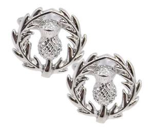 Scottish Scott Scotland Silver Rhodium Thistle Gift Cuff links CUFFLINKS DIRECT