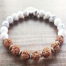 8mm Rudraksha Howlite Mala Bracelet 7.5 inches Handmade Lucky Cuff Meditation