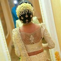 Indian Bridal Saree Blouse Gold Pendant Open Back Necklace Jewelry Accessory